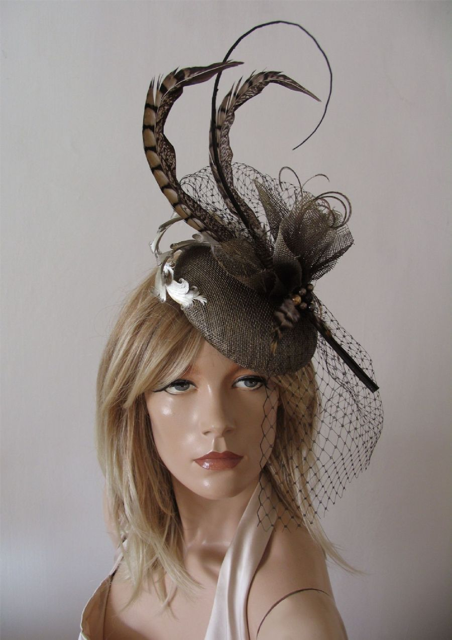 Gold, Brown, Feathered Button Fascinator Headpiece Ascot Hat of Pheasant and Woodland Tones. Mother of the Bride, Winter Weddings or Racing